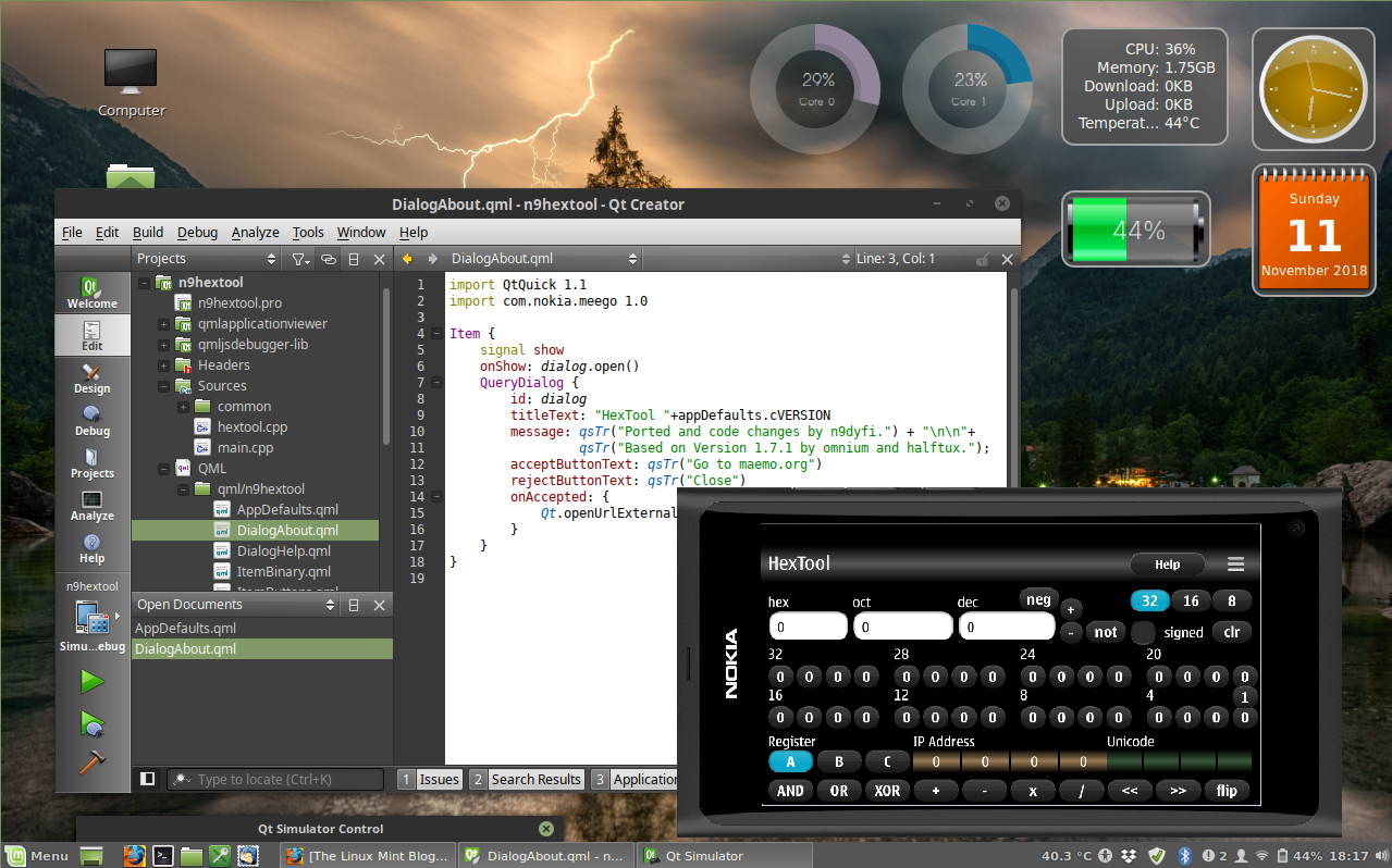 QtCreator running in Linux Mint 19.0 Tara